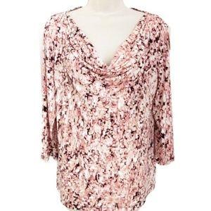 Liz Claiborne Pink Abstract Drape Neck Blouse L